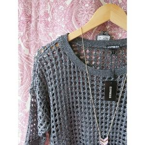 NWT Open Mesh Festival Vacation Sweater Gray